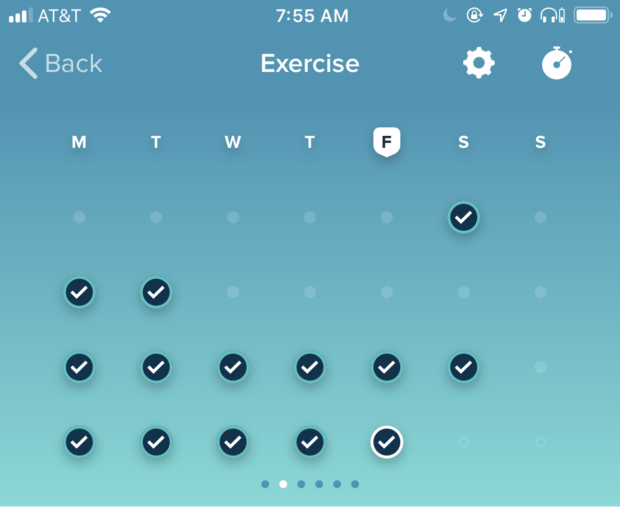 Two weeks of exercise Fitbit screenshot